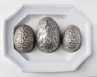 Tin Easter egg molds, Tin chocolate molds, Vintage Easter decorations, Metal molds, Rustic patina, Tin chocolate mold, Easter eggs