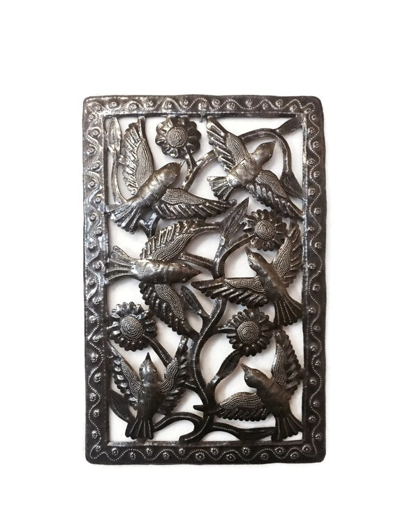 "Metal Indoor and Outdoor Birds and Flowers, Handmade in Haiti  11"" X 17"""