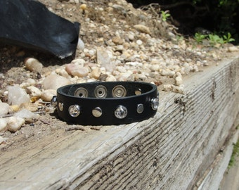 "Black Leather Wristband With Genuine Swarovski Crystal 3/4"" ( 19 mm ) wide band With rivets and snap closure"