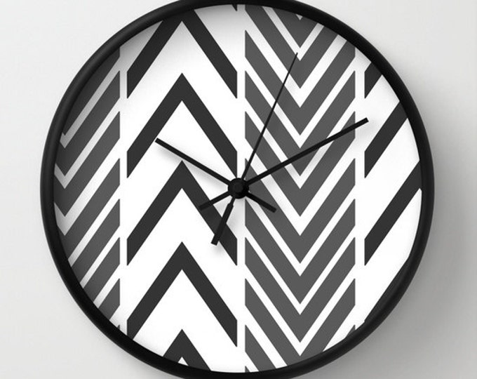 Black and White Clock - Wall Clock - Arrow Art - Made to Order