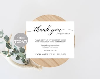 Thank You Insert Etsy - Thank you for your business card template