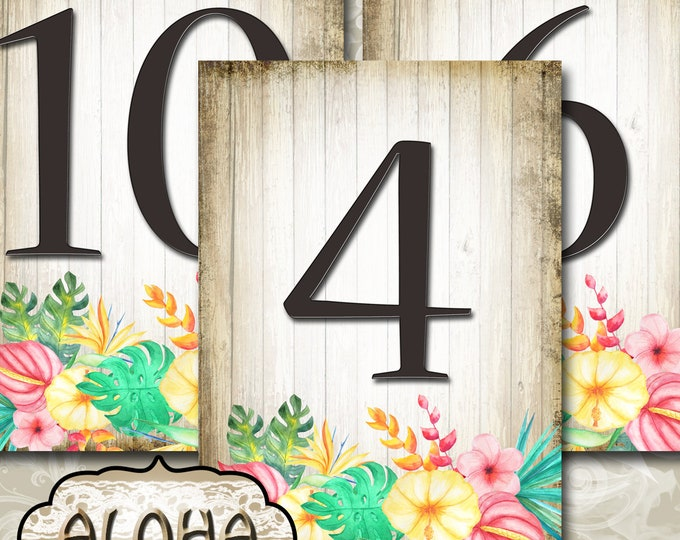 ALOHA•Wedding Table Number•5x7•Printable•Weddings•Parties•Bridal Shower•Baby Shower•Seating Numbers•Wedding Decoration