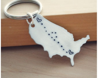 United States Keychain - Graduation Gift - See You Soon - USA Map - Best Friend Long Distance Love - Hand Stamped Keychain - LDR Couple Gift