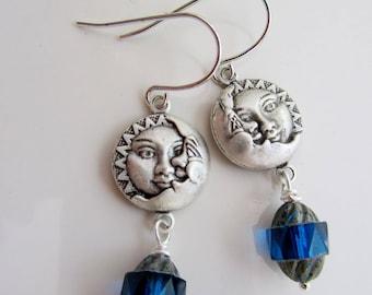 Silver Moon Earrings, Moon Face, Celestial Earring, Sapphire Beads, Eclipse Jewelry, Everyday Earrings