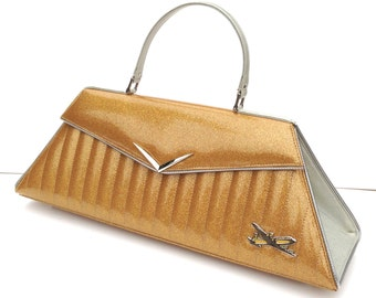 Couture Vintage Car inspired Handbag. Handmade in the USA- Sedan Car bag- Jet Set Gold