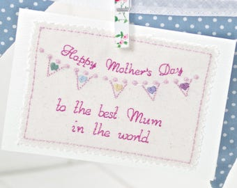 Mother's Day Card, Embroidered Mother's Day Card, Handmade Mother's Day Card