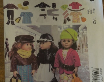 "McCalls M6804, crafts, doll clothing, 18"" dolls, UNCUT sewing pattern, craft supplies"