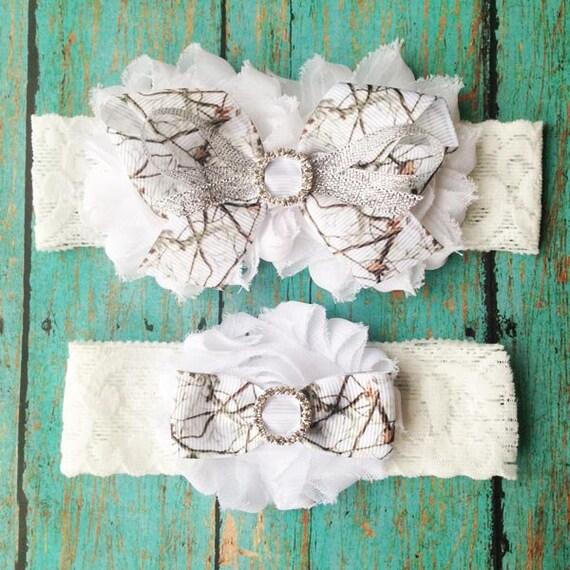 White Camo Wedding Garters Wedding Garter Set Bridal