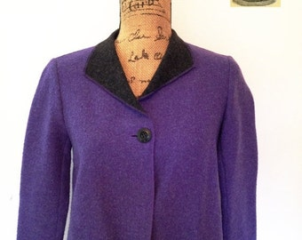 Vintage purple wool jacket with gray wool lining. Single front button enclosure. By Sigrid Olsen. Size Small