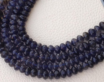 8 Inch Strand, WATER SAPPHIRE IOLITE Micro Faceted Rondells, 6-7mm Size,Great Quality at Low Price