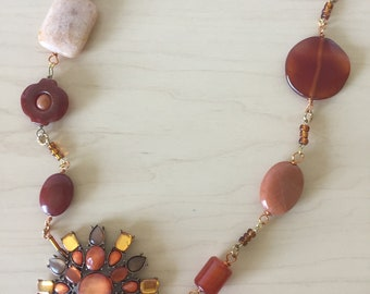 Vintage Brooch Repurposed with Gemstones into New Necklace and Matching Earrings