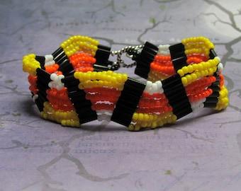 Candy Corn Bracelet, Seed Bead Bracelet, Halloween Bracelet, Holiday Bracelet, Beaded Bracelet, Woven Bracelet, Halloween Jewelry, Orange