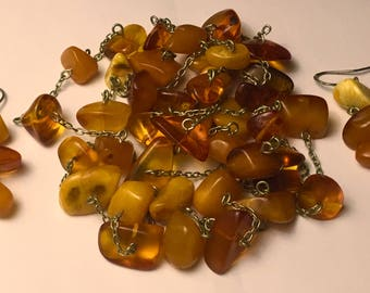 Beautiful egg yolk Baltic Amber Necklace and earrings as a gift