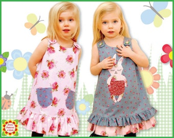 Sunny Bunny Reversible Jumper Dress Pattern + Free Mother-Daughter Apron Pattern, Girls, Toddler, Children's Sewing Patterns, Handmade