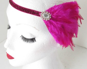 Vintage Hot Pink Feather Head Piece Headband 1920s Great Gatsby Flapper 30s k59