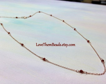14k Rose Gold Satellite Chain Necklace Carnelian Beaded Rose Gold Cable Layered Light Weight Dainty Delicate Chain by LoveThemBeads