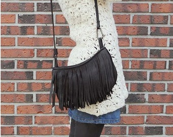 Small tassel shoulder bag, crossboday bag, women leather purse, women messenger bag and purse, clutches and evening bag
