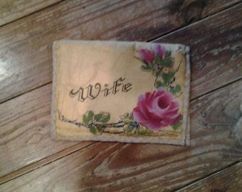 "Vintage ""Wife"" Satin Jewelry Bag / Hanky Pouch  -Souvenir of Panama"