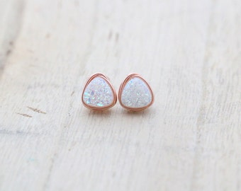 Druzy Stud Earrings, White Triangle Geometric Minimalist Wire Wrapped Post, Sterling Silver Gold or Rose Gold - Confetti Cream