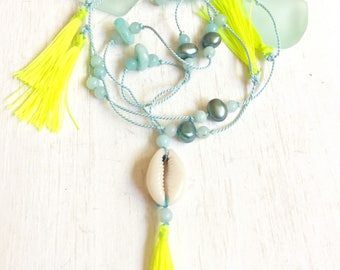 long tassel necklace for women, cowrie shells, Tassel necklace,boho beach necklace,boho jewelry tassel necklace