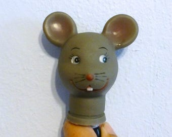 Doll Craftin 4 inch Mouse Head Vintage Doll Craft Supply Gray Mouse