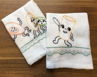 Dancing Dishes Hand Embroidered Dish Towels