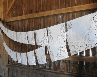 Rectangle Paper Doily Wedding Garland-20ft-White Rectangle Doily Garland, Paper Doily Garland,Lace Wedding Garland, Rectange Lace