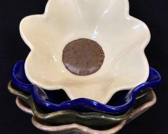 Set of 4 Flower Hand Built Dessert Bowls
