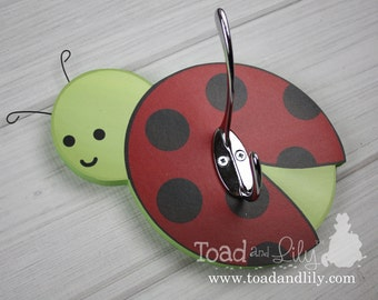 Red Black Ladybug Clothes Peg Rack Clothing Rack, Hat Holder for Kids Bedroom Baby Nursery Playroom Mudroom Bathroom Towel Hat Rack Hook
