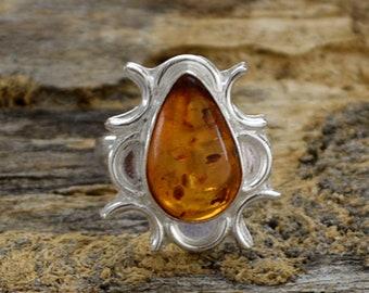 Pearl Amber Gemstone Ring, 925 Sterling Silver Ring, Orange Amber Ring, Gemstone Silver Beautiful Gift Ring, Artisan Floral Gift Ring