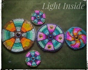 5 Pieces Of Beaded Medallions Bead Embroidery Sewing Patches For Tribal Fusion Belly Dance Costume READY TO SHIP