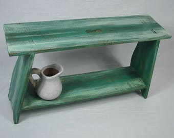 1900s Barn Bench, Wooden Bench, artfully beautified in Turquoise + White, Primitive Antiques Germany