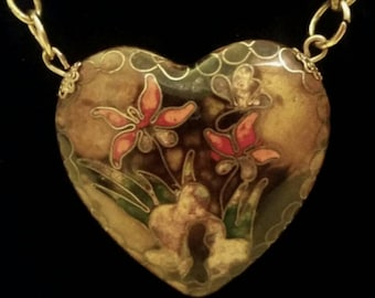 After Life Accessories Repurposed Vintage Heart  Necklace