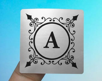 "Silver Foil ""Initial Letter"" Labels Stickers Seals #S4011"