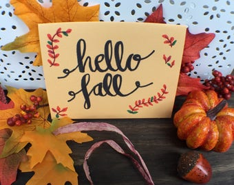 Hello Fall Greeting Card   Fall is Here Card   Fall Time Greeting Card