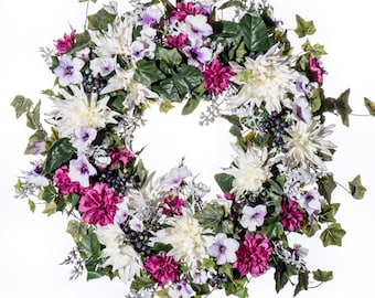 White Dahlia, Zinnia and Petunia Wreath (SW920)