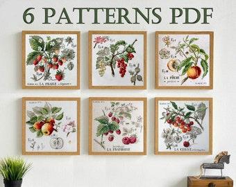 Berries and Fruits, Peach Raspberries  Apple Strawberries Currant Cherries - Cross stitch Pattern PDF