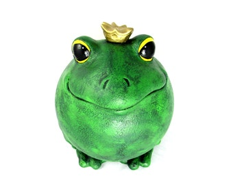 Large Ceramic Garden Prince Charming Frog - 10 inches - hand painted, indoor or outdoor, lawn or garden