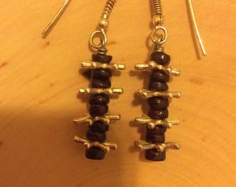 Garnet & Sterling Drop Earrings
