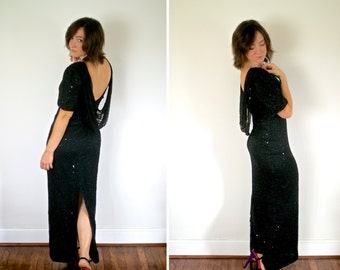 SALE! Vogue Vintage Beaded Black Formal Dress
