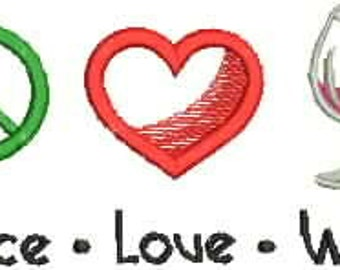 Embroidered Hand Towel or DishTowel - Peace Love Wine