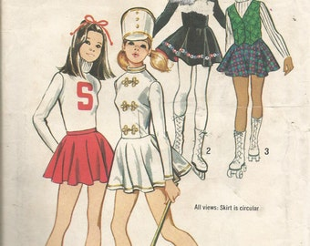 Vintage SIMPLICITY CHEERLEADER, SKATING and Majorette costumes size 8.   Cicrcular skirt..uncut and factory folded.  1972 pattern
