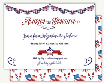 Fourth of July BBQ Invitation / Independence Day - DEPOSIT