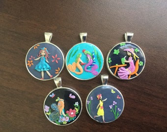 Pretty girls polymer clay pendant collection
