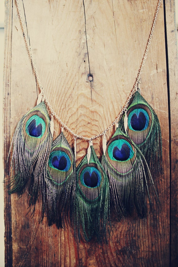 Peacock Feather Necklace With Metal Feather Charms Hippie