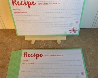 Snowflake Recipe Cards, 12 Recipe Cards Per Pack, Holiday, Christmas Recipe Cards with Easel, 4x6 Recipe Cards, Christmas Recipe Cards