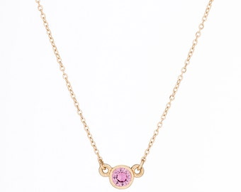 14K Gold Pink Sapphire Dainty Necklace // birthstone necklace // bridesmaid gift
