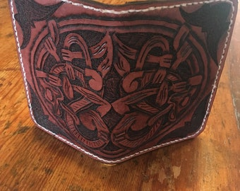 Men's or Women's Handmade/Hand-tooled/Hand-stitched Norse/Celtic styled Wallet and Passport Case
