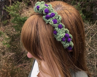 Crocheted Purple Berry Headpiece