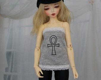 Minifee Grey Ankh Shirt, MNF Black Shirt 1/4 Size Doll Clothes
